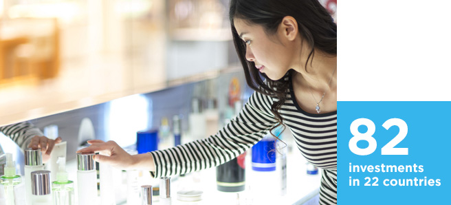 Customer viewing beauty products in a retail store